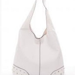 White Leather Handbag/Matching Makeup Case