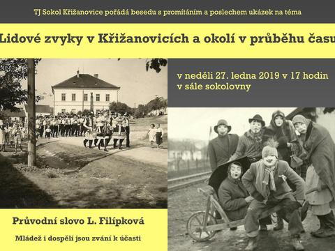 Pozvánka na besedu o lidových zvycích v Křižanovicích a okolí v průběhu času