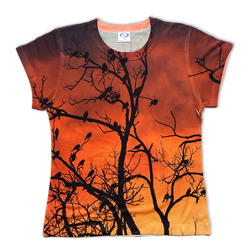 Birds all over printed ringer t-shirt