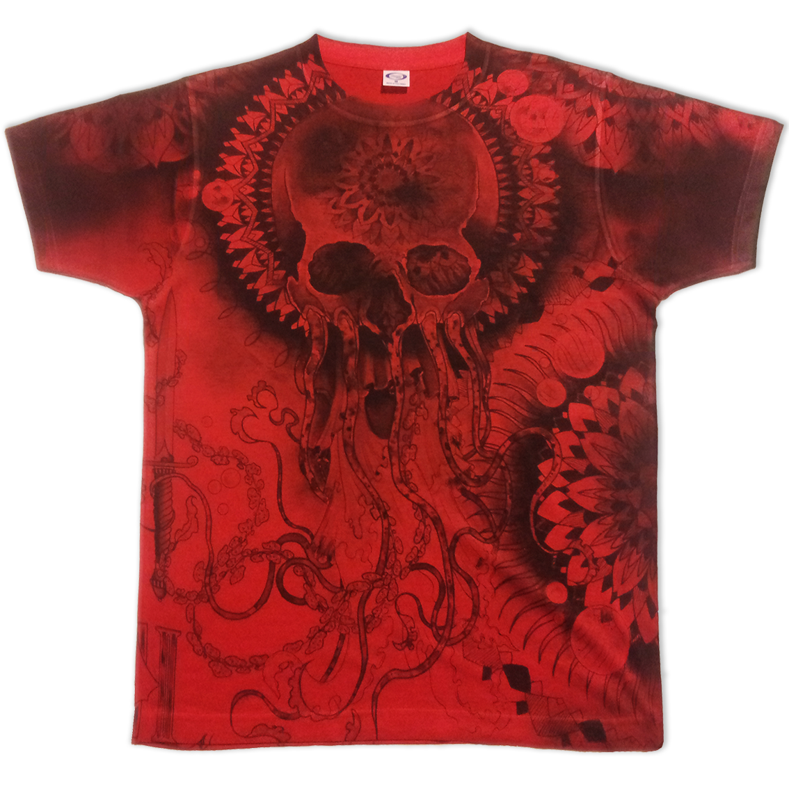 All-over printed red basic t-shirt