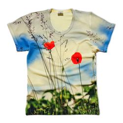 Field poppies all over printed t-shirt