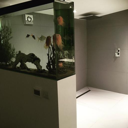 Bathroom with bespoke fish tank
