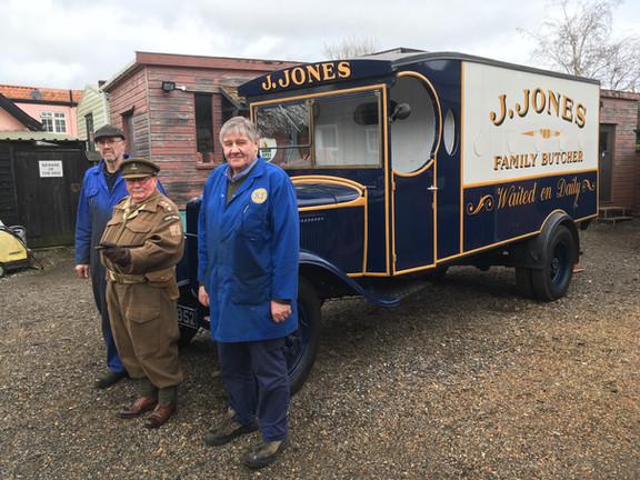 Dad's Army. J. Jones Butchers van with the mechanics from Belcher Engineering