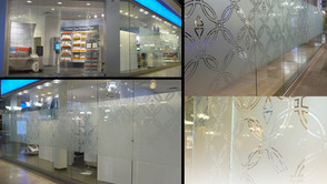 Etched glass film Installations
