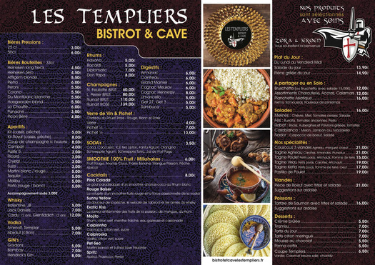 menu restaurant les templiers