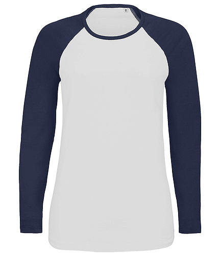 Ladies Milky Contrast Long Sleeve T-Shirt