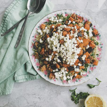 Salade de quinoa, aubergine, chèvre et patates douces pour Marjorie