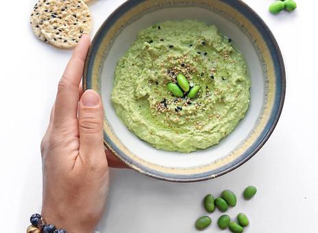 Hummus aux edamames, tamari et sésame