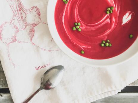 Soupe betterave et chou-fleur rôtis