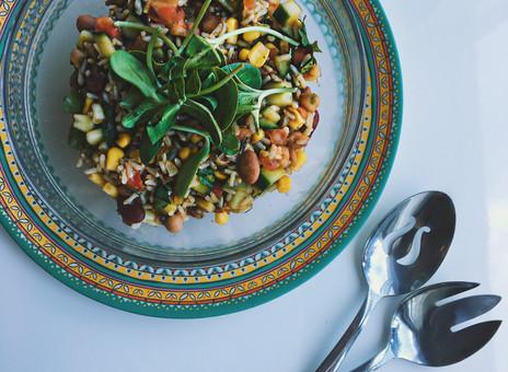 Salade de légumineuses et riz