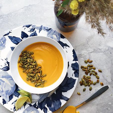 Potage de carottes rôties, cumin & citrouille