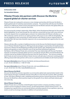 Flitestar Private Jets announces Global Marketing Agreement with Discover the World.