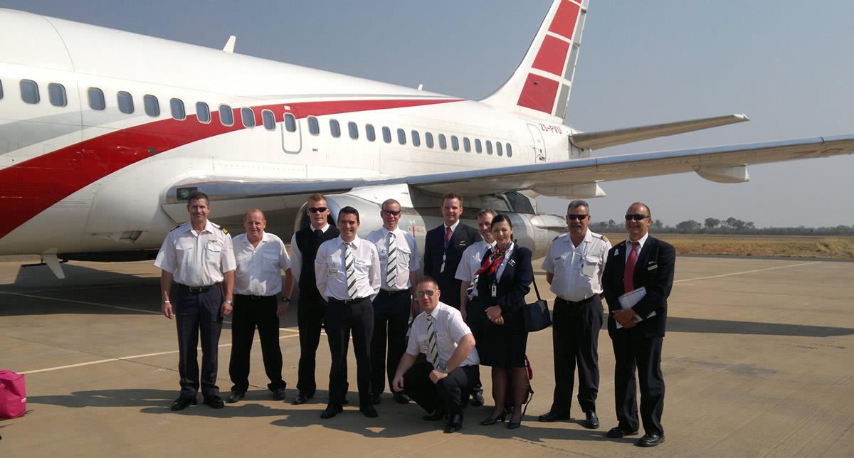 Boeing 737 Crew at Victoria Falls, Zimbabwe