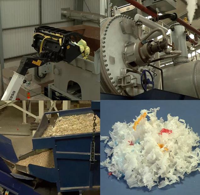 Quatro imagens do processo industrial de reciclagem das fraldas