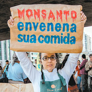 A foto mostra uma mulher branca, cabelo castanho, usa óculos oval, veste uma camisa branca e um avental verde. Ela segura um cartaz escrito: Monsanto envenena sua comida.