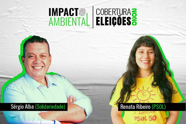 A imagem mostra o candidato Sérgio Alba do Solidariedade à esquerda e à direita está a candidata Renata Ribeiro do PSOL. Alba é caucasiano, está sorrindo, possui cabelo castanho com entradas brancas e tem olhos castanhos. Ele veste uma camisa azul clara xadrez. Renata é caucasiana, tem cabelos longos castanhos ondulados e com franja na testa, tem olhos também castanhos e está sorrindo. Ela veste uma camiseta amarela desenhado um solzinho e escrito PSOL 50.