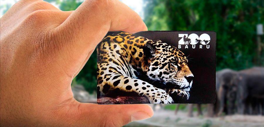 A imagem mostra uma mão de uma pessoa branca segurando o cartão de entrada do parque. No cartão está desenhado um tigre e escrito Zoo Bauru.