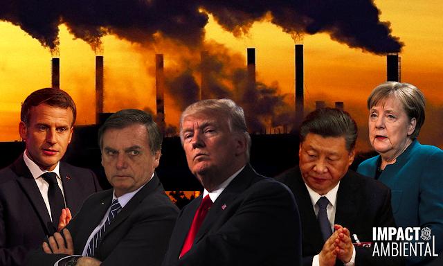 Da esquerda para a direita, a imagem mostra Emmanuel Macron - presidente da França - ele é caucasiano, veste terno preto e gravata preta. Jair Bolsonaro - presidente do Brasil - ele é caucasiano, veste terno preto e gravata preta com listras brancas. Donald Trump - presidente dos Estados Unidos - ele é caucasiano, veste terno preto com gravata vermelha. Xi Jinping - presidente da China - ele é asiático e veste terno preto com gravata azul escuro. E Angela Merkel - chanceler da Alemanha - ela é caucasiana e veste uma camisa de manga longa azul turquesa. Ao fundo, está uma cor laranja-avermelhado com indústrias liberando fumaça tóxica na atmosfera.