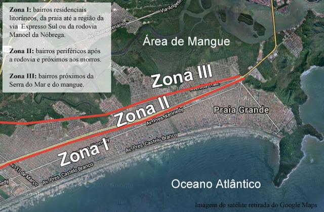 É uma foto tirada de satélite. No canto superior esquerdo, se lê: Zona I: bairros residenciais litorâneos, da praia até a região da via Expresso Sul ou da rodovia Manoel da Nóbrega. Zona II: bairros periféricos após a rodovia e próximos aos morros. Zona III: bairros próximos da Serra do Mar e do mangue. O restante da foto mostra a área de mangue na parte superior, abaixo a zona III, uma linha vermelha, a zona II, outra linha vermelha e a zona I. Na parte inferior está azul porque mostra o oceano atlântico.