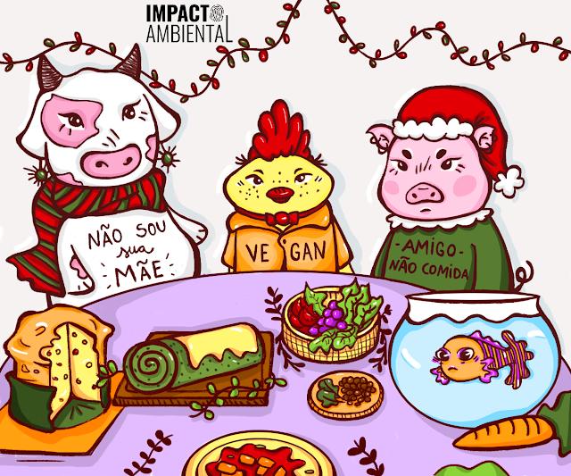"""A imagem mostra uma ilustração de uma vaca, uma galinha e um porco. Eles olham uma mesa com panetone, rocambole, salada, uma cenoura e um peixe no aquário. A vaca é branca, com manchas rosa, ela usa um cachecol listrado vermelho e verde. Na barriga dela está escrito: """"Não sou sua mãe"""". A galinha é amarela com topete vermelho, ela usa um colete onde está escrito """"Vegan"""". O porco é rosa, ele usa um suéter verde e um gorro igual do Papai Noel. No suéter está escrito: """"Amigo, não comida""""."""