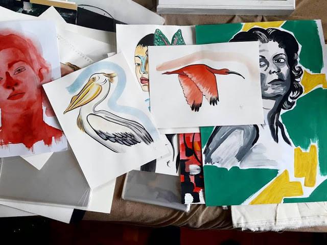 diversas imagens pintadas pelo artista Felipe Leite