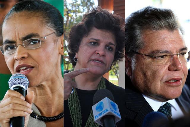 Da esquerda para a direita: Marina Silva: mulher, parda, cabelo preto amarrado em coque, usa óculos. Izabella Teixeira: mulher, branca, cabelo castanho curto. Sarney Filho: homem, branco, cabelo grisalhos.
