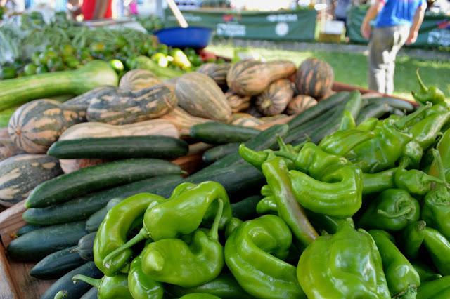 A foto mostra pimentões verdes, pepinos e abóboras. Ao fundo vê uma pessoa andando.