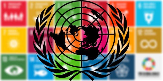 A foto mostra os ODS's desfocados e o símbolo da ONU na frente.
