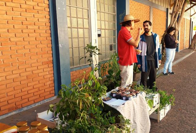 Homens conversam ao lado de plantas expostas numa mesa.