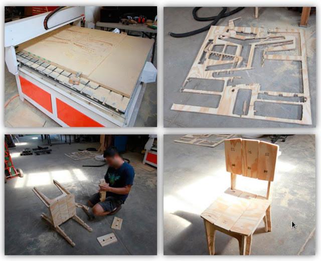 São quatro fotos. 1: um pedaço de madeira sobre uma mesa; 2: um recorte de madeira; 3: um homem montando uma cadeira; 4: uma cadeira de madeira pronta.
