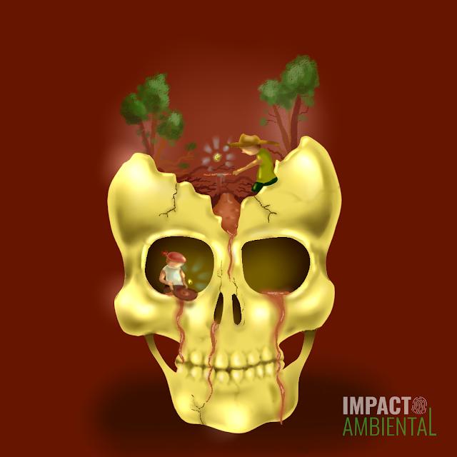 Ilustração que mostra um crânio humano com garimpeiros dentro achando ouro