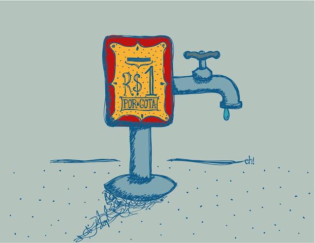 ilustração de uma torneira pingando com uma placa de valor