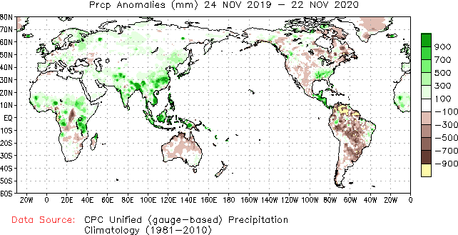 A imagem mostra um mapa global de anomalias de chuva. Ele mostra o contorno dos continentes e a quantidade de chuva ao longo dos anos de 1981 a 2010. Se chove mais a cor é verde e se chove menos a cor é roxa. No mapa se vê pontos da África, Austrália e a América do Sul em roxo, mostrando sua estiagem.