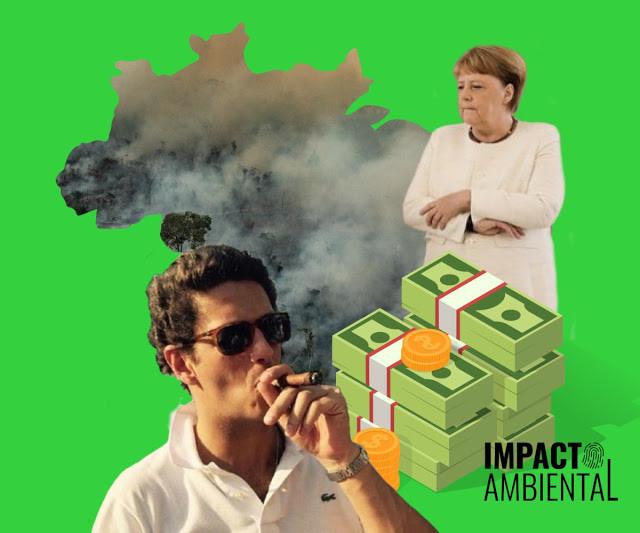 A foto mostra o mapa do Brasil queimado e cheio de fumaça. Ricardo Salles fumando um charuto e de óculos escuros. Angela Merkel de braço cruzados e uma pilha de dinheiro ao lado. O fundo é verde.