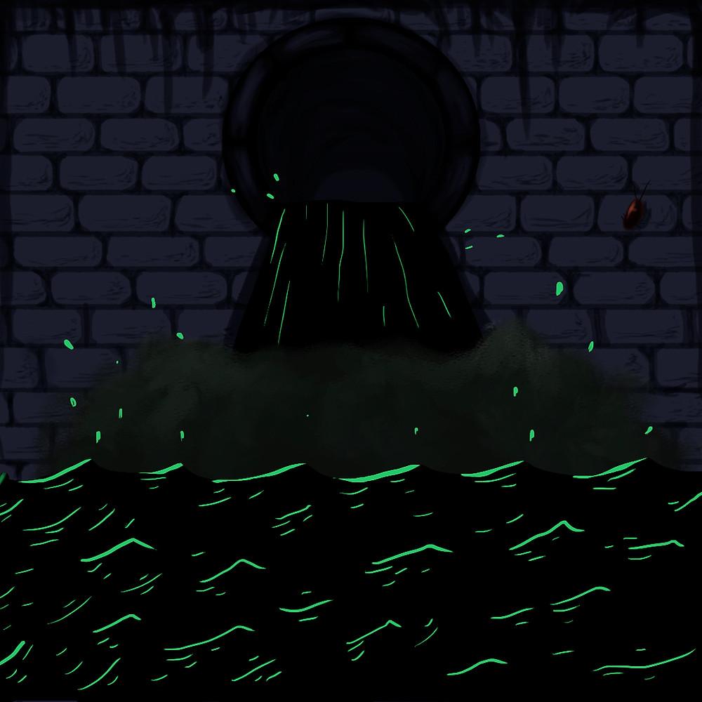 Arte gráfica quadrada com fundo de tijolos na cor roxa. Os rejuntes são pretos, no centro há um bueiro preto despejando uma água preta em um rio preto com detalhes em verde limão. No lado direito há uma pequena barata marrom na parede de tijolos.