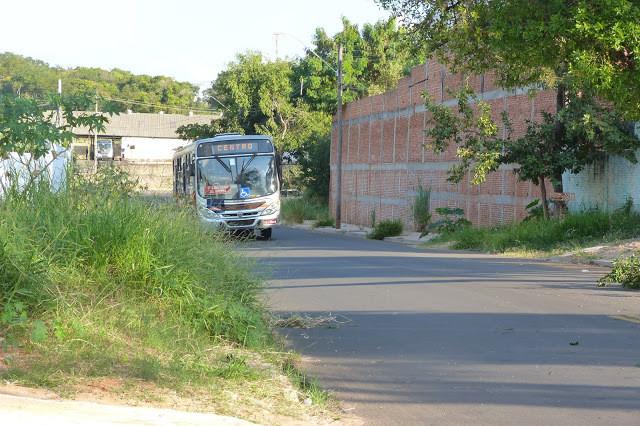 A foto mostra um ônibus se movimentando por uma rua. Do lado esquerdo tem um terreno baldio, e do lado direito tem uma construção e árvores.