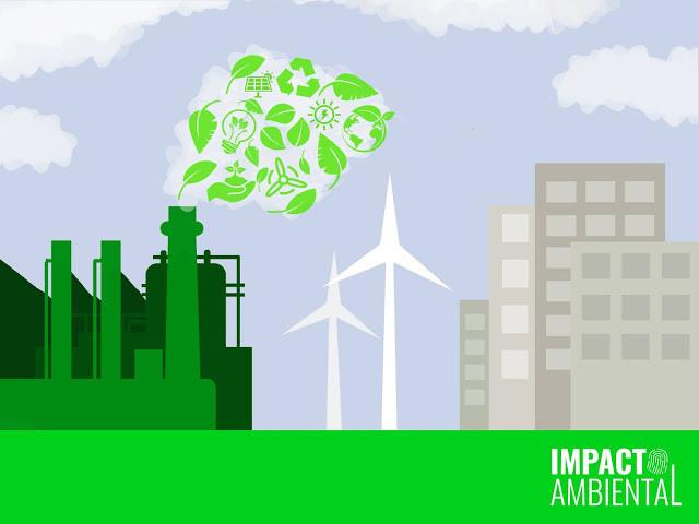O desenho mostra indústrias soltando ideias verdes como folhas, reciclagem e mudas de plantas.