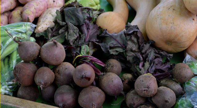 A foto mostra legumes expostos na feira. Tem beterraba, repolho-roxo, abóbora, quiabo e batata doce.