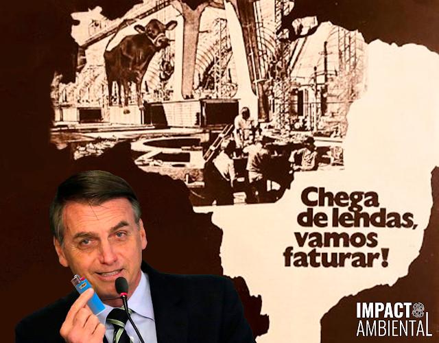 Capa da matéria com um mapa do Brasil, focando na região Norte e na criação de gado. No canto, o presidente Jair Bolsonaro segurando um isqueiro.