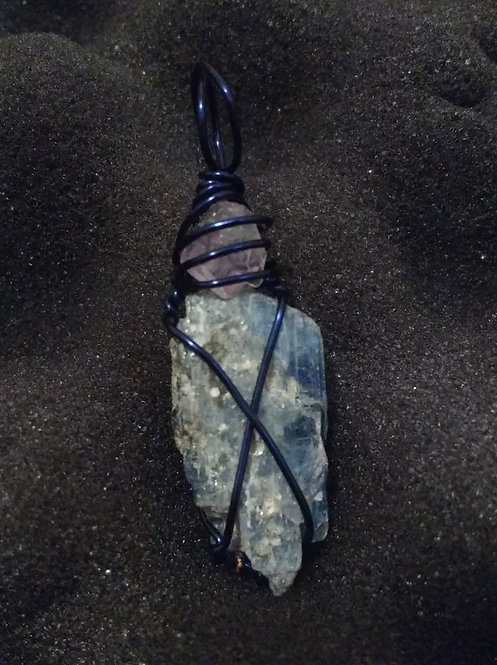 Kyanite with Small Amethyst Wrap