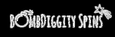 BombDiggity Spins Logo v2 Bold White Tra