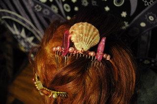 Pink & Golden Crystal Comb