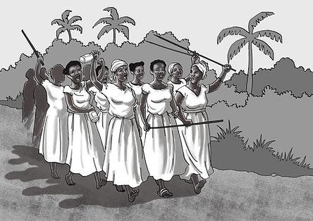 Illustration des femmes en marche lors de l'insrrection du sud septembre 1870 de Bruno Dulthéo pour Culture Égalité