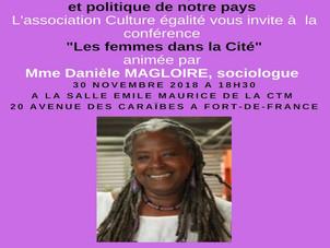 """Conférence """"Les femmes dans la cité"""" vendredi 30/11 animée par Danièle Magloire"""