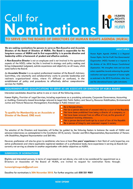 CALL FOR NOMINATIONS TO SERVE ON THE BOARD OF DIRECTORS OF