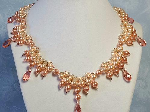 Peach Swarovski Scallop Necklace