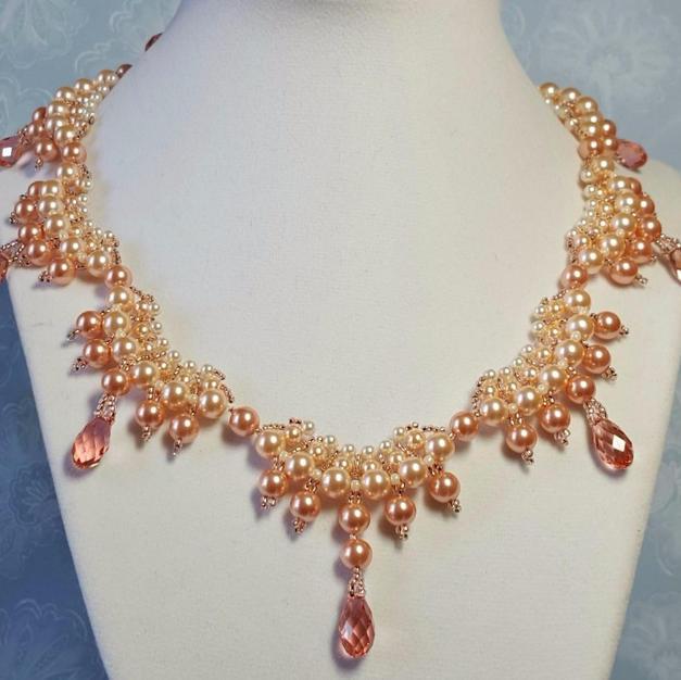 Peach Scallop Necklace - $300.00