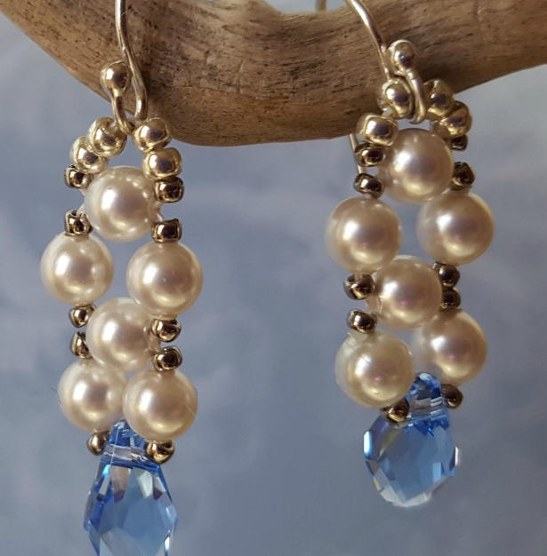 Light Sapphire and Pearl Earrings - $46.00