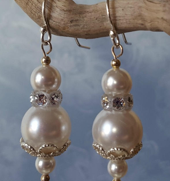 Pearl and Crystal Drop Earrings - $42.00