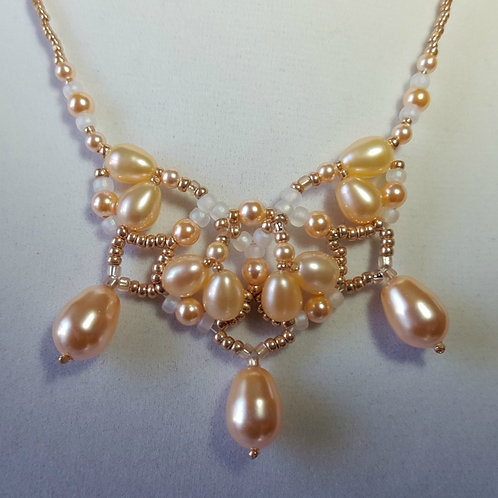 Peach and Cream Pearl Lotus Necklace